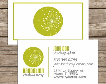 Dandelion Business Card / Mommy Card / Calling Card - PREMADE Business Card Design - Customization & Printing Available - FREE SHIPPING