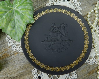 Vintage Black Basalt Wedgwood Jasperware Mother's Plate