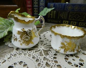 Antique Hammersley & Co. Bone China Individual Creamer and Sugar - England