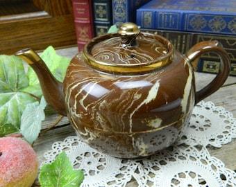 Vintage Mid Century Sudlow's Burslem Brown Marbled China Teapot - England