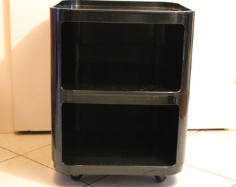 Original 70s 60s Kartell Design Classic by Anna Castelli Componibili Cabinet Trolley Storage Tower Container Black Made in Italy Space Age