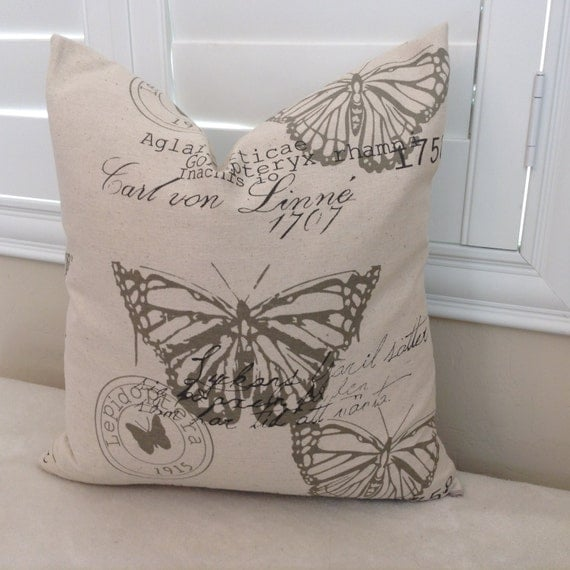 Throw Pillows With Washable Covers : Items similar to Jute Butterfly print pillow cover, throw pillow, washable, removable, toss ...