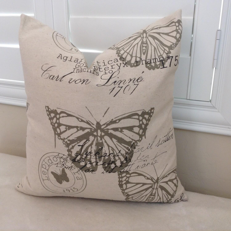 Decorative Pillow Covers Washable : Jute Butterfly print pillow cover throw pillow washable