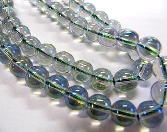 Rainbow Glass Color Seafoam Green  Beads, 8 MM, Shiny, Round, Jewelry Making Beads