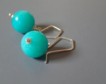 Amazonite sterling earrings. Peruvian blue amazonite sterling silver earrings. AAA amazonite, gem grade amazonite