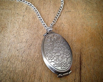Polished Antique SILVER Oval FOUR Picture Locket Necklace - Vintage Style Engraved Floral w/ Chain