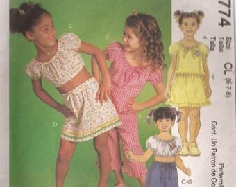 McCalls 2774 Girls top, skirt, capri and shorts Pattern Size 6-8