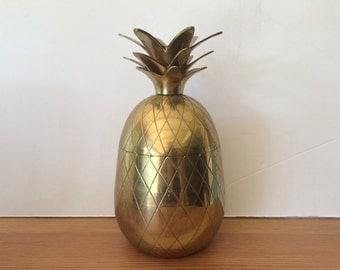 """Vintage 8"""" Brass Pineapple Container Pineapple Candle Holder Pineapple Ice Bucket Hollywood Regency Pineapple"""