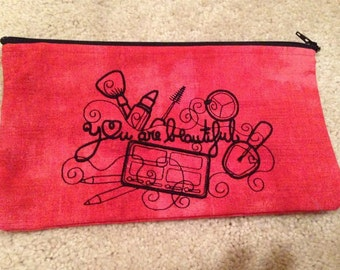 """Red Make-Up Bag - """"You Are Beautiful"""" in Black"""