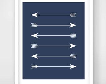 30% OFF SALE Printable Art, Arrow Print, Arrow Decor, Navy, Three Straight Arrows Art,  Downloadable Arrow Print, Wall Print, Four arrows