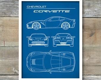 Patent Print, Chevrolet Corvette Blueprint, Corvette Poster, Corvette Art, Corvette Decor, P355