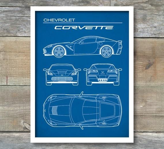 Patent print chevrolet corvette blueprint corvette c7 like this item malvernweather Images