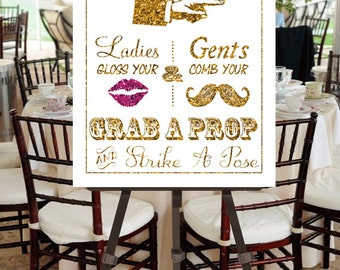 "Instant Download- Printable JPEG DIY Gold Glitter Effect & Pink Glitter Effect Lips Wedding Sign: ""Fancy Photobooth"" Large 18"" x 24"" Signage"