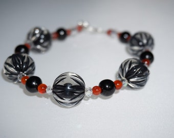 Fun, Lightweight,  Black and Red,  Chunky Bracelet,   Everyday Wear,   Toggle and Clasp,  Ready to Ship