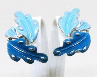 Blue Enamel Earrings - Vintage, Coro Signed, Leaves, Clip-on Earrings