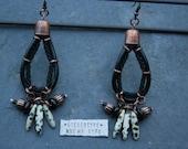 Boho Earrings - Black Leather . Copper Dalmatian . Jasper Pendant Earrings - Tribal Earrings - Statement Earrings