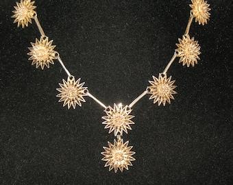 Edwardian Sterling Silver Filigree Floral Necklace 16.5 inch