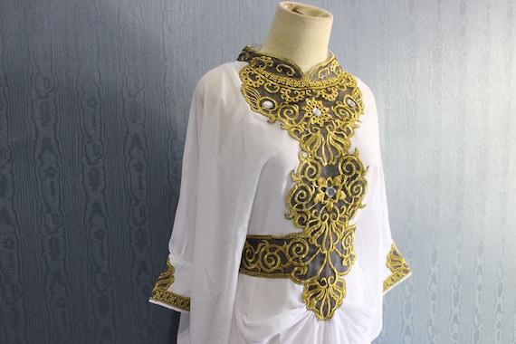 Moroccan white maxi kaftan dress bridesmaid wedding by yosika for White kaftan wedding dress