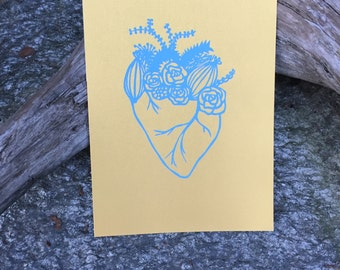 Floral Heart Hand Pulled Screen Print
