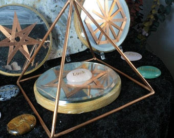 """6"""" Copper Pyramid Collection with Mirror/Copper/Wood 5"""" grid base and Word Stone"""