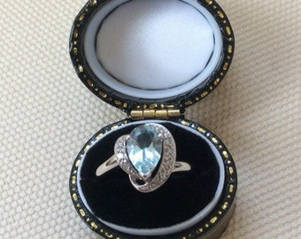 Vintage Blue Topaz and Diamond Ring in White Gold