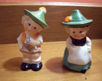 Vintage Porcelain Goebel Bashful Boy and Girl Salt & Pepper Shakers - Made in West Germany