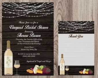 Winery Bridal  Shower Invitation DIY Printable