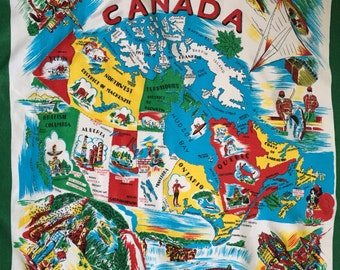 vintage Canada scarf // 50s tourist Canadian scarf