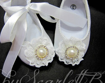 White Satin Baby Girl Shoes,Christening Shoes