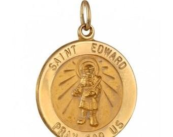 SALE Saint Edward 18.5mm 14K Yellow Gold Pendant Charm - Patron Saint – Kings – Difficult Marriages - Separated Spouses - 14K Chain Availabl