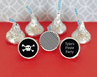 Hershey Kiss Labels-Pirate Party Favors-Stickers for Candy Kisses-Personalized Hershey Kiss Favor Labels (set of 108)