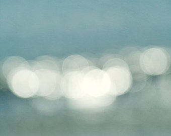 Beach abstract large abstract photograph bokeh light sparkle art, aqua pale turquoise wall art, white circles nautical modern decor picture