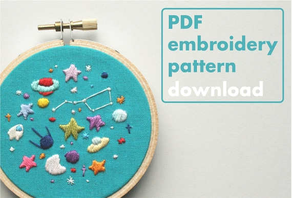 Space mini hoop embroidery pattern pdf printable modern hand for Space embroidery patterns