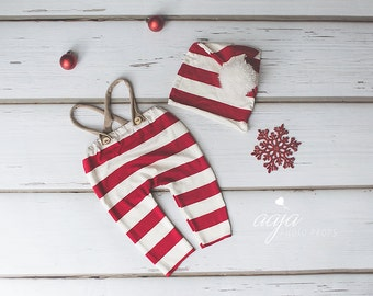 Baby newborn trousers and hat set, stripe, red, ivory, Christmas, pom pom, photo prop made to order