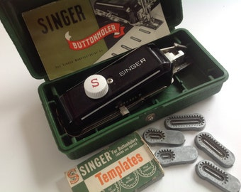 Vintage single button vintage singer buttonholer with templates sewing machine part