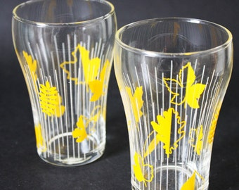 Pair of 1950s Glass Tumblers -Yellow Autumn leaves motif pattern