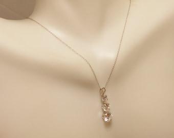 10 K White Gold Three Stone Pendant Necklace