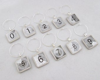 Movie Numbers Wine Charms -set of 6 or 10- wine tags, wine glass charms, numbers, black and white
