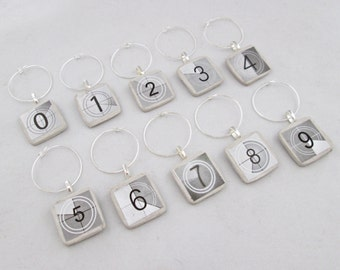 Wine Charms Movie Numbers-set of 6 or 10-wine tags, wine glass charms, numbers, black and white