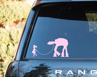 Little girl walking AT-AT vinyl decal