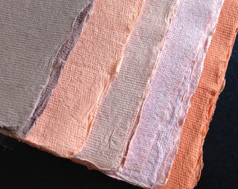 Mixed Pinks, Peach, & Orange Cotton Rag, 10 sheets Khadi handmade paper, A4 21x30cm  8.25x11.8inches, 5 color sample pack