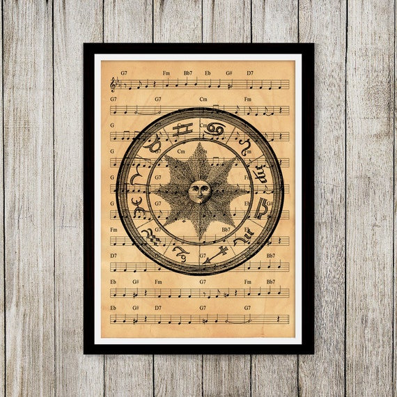 Items Similar To Occult Poster Music Note Art Antique