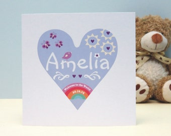 Personalised Welcome To The World Card, New BabyGirl Personalised Card, Baby Keepsake Card