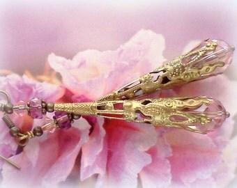 Long Earrings, Handmade Earrings, Dusty Rose Earrings, Filigree Earrings, Boho Earrings, Victorian Earrings, Filigree Dangles, Pink Teardrop