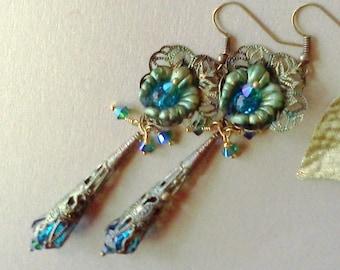 Victorian Earrings, Hand Painted Earrings, Handmade Earrings, Lucite Earrings, Flower Earrings, Aqua Earrings, Dangle Earrings, Boho Earring