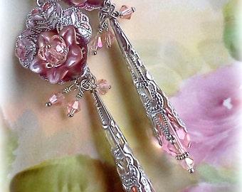 Lucite Earrings, Hand Painted Earrings, Handmade Earrings, Handmade Jewelry, Flower Earrings, Boho Earrings, Pink Earrings, Long Dangles