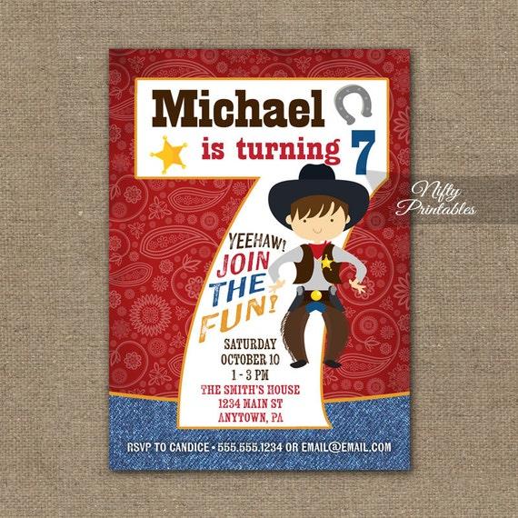 Cowboy Birthday Invitation Th Birthday Invitations Boys - Birthday invitation card for 7 years old boy