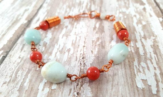 Amazonite Bracelet - Red Bamboo Coral  Gemstone Coral Bracelet - Copper Wire Wrapped Bracelet - Bohemian - Gypsy - Hippie
