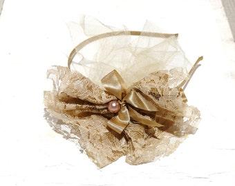 Bridesmaid Headband, Tan Hair Accessory