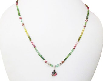 Multicolor Tourmaline pendant necklace with Silver findings, Green Pink Tourmaline beads necklace, Watermelon Tourmaline jewelry for women